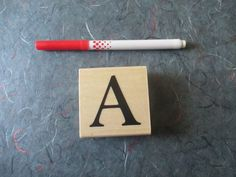 Letter A Stamp Monogram stamp Initial Stamp by TheSupplyDestash