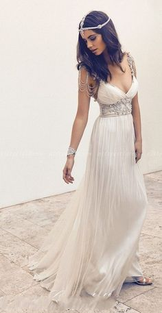 Cap sleeve beach wedding dresse, rhinestone prom dress, unique beach wedding…