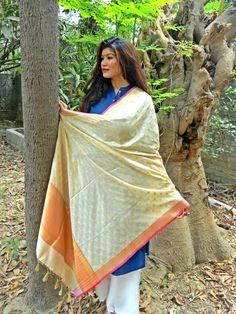Banarasi Art Silk Dupatta-Off White