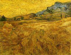 trigo campo com  Ceifeiro  e  sol , óleo sobre tela por Vincent Van Gogh (1853-1890, Netherlands)