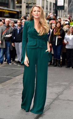 Blake Lively from The Big Picture: Today's Hot Photos Sophisticated stunner! The actress rocks a teal Brandon Maxwell jumpsuit while arriving to an event in NYC.