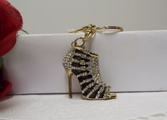 Chic! Elegant Strap Heel Shoe Purse Charm Key Ring Crystal Accents #FashionJewelry