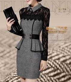 Новый женский весна платье 2015 корейский длинными рукавами платье тонкий тонкая талия кружева шить пакет бедра основывая платье свадебные платья F52530 купить в магазине Fashion Affordable Baby на AliExpress