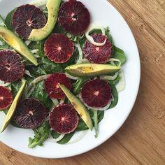 Blood orange fennel salad with arugula, spinach, avocado and citrus vinaigrette. #bloodorange #salad