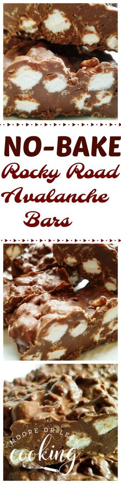 Delicious No-Bake Rocky Road Avalanche Bars require 7 ingredients and can be made in under 25 minutes! We had our annual Halloween Pumpkin Carving party and I thought that these no bakes would be g…
