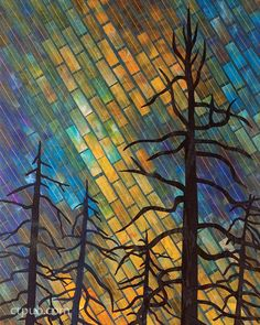 Radiant Landscapes: Quilts by Gloria Loughman. Mosaic tile background.