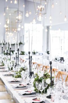 Modern Monochrome & Greenery Wedding at White Light by Daniel West. Monochrome Wedding Ideas for your Wedding at The Orchard at Chesfield Winter Wedding Receptions, Winter Wedding Decorations, Wedding Themes, Wedding Styles, Table Decorations, Themed Weddings, Winter Weddings, Wedding Centerpieces, Wedding Cakes