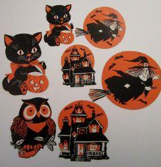 Vintage Dennison press outs. Halloween Cut Outs, Happy Halloween, Vintage Halloween Decorations, Halloween Illustration, Collection, Halloween Drawings