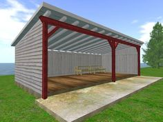Tractor Shed Building Plans greenhouse shed plans!@ HoMeMaDe ShEd PlAnS **@ Wood Shed Plans, Free Shed Plans, Shed Building Plans, Building Ideas, Barn Plans, Building Design, Open Shed, Pole Barn Designs, Plan Garage