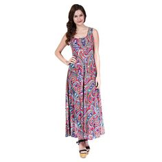 24/7 Comfort Apparel Women's Vibrant Paisley Tank Maxi Dress