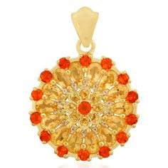 Fire Opal Pendant with Citrine in Gold Plated Sterling Silver 3.91cts