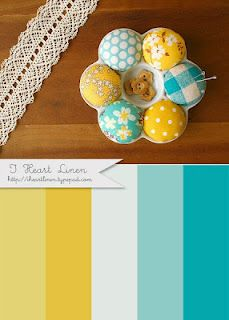 Just redecorated my bedroom in these colors.  My walls were already yellow.  Just added white and aqua linens.
