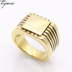 316L Stainless Steel fashion Jewelry Men's High Polished Signet Solid Ring Biker Ring For Men Gold-color Jewelry Bijoux gift #Affiliate