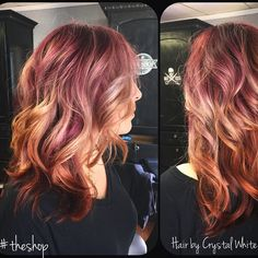 Violet Balayage. Copper hair. Balayage. Ombre. Platinum. The Shop. Hair ideas. Curly hair. Long hair.  Hair color. Red hair. Purple hair. Balayage hair. Ombre hair. Red Balayage.  Red ombre. Pravana color. Hair by Crystal White. Royse City. Peek a boo highlights.  Highlights. Low lights.