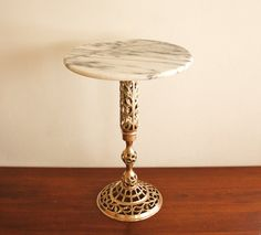 Marble & Brass Side Table.