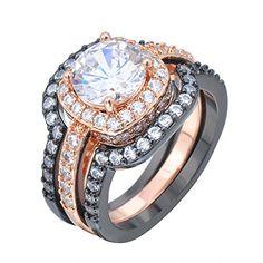 "ON SALE AT http://jewelrydealsnow.com/?a=B01CDOS6GU - Bamos Jewelry Womens Luxury White Round Diamond Black Gold Wedding Rings Set Size 6-10"""
