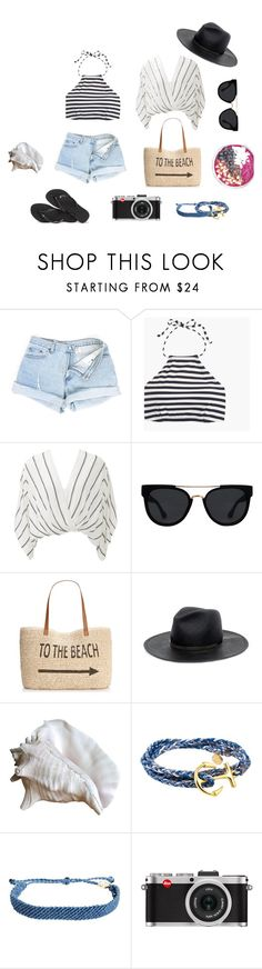 """""""To the Beach"""" by stephc ❤ liked on Polyvore featuring J.Crew, Free People, Quay, Style & Co., Janessa Leone, Pura Vida, Leica and Havaianas"""