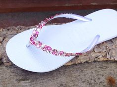 b6947f8a59ba White Pink Flip Flops Rose Crystal Havaianas Slim w  Swarovski Rhinestone  Beach Sea Glass Slippers Wedding Sandals Bling Jewels Bridal shoes