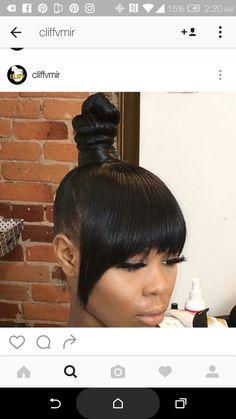 Mini top knot anyone? Bangs Ponytail, Knot Ponytail, Knot Bun, Cute Bun Hairstyles, Weave Hairstyles, Love Your Hair, Great Hair, Pretty Hair Weave, Twist Curls