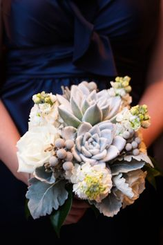 Succulent Dusty Miller Bouquet | photography by http://jenniferkathryn.com