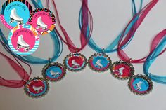 Roller Skating Birthday Party Favors - Rollerskating Necklaces - Bottlecap Necklaces - Set of 6 - Free Personalization