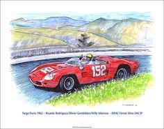 "Targa Florio 1962 - Rodriguez/Gendebien/Mairesse - Ferrari Dino 246 SP 14""x 11"" limited edition of 50 © Paul Chenard"