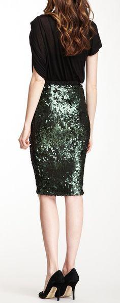 Emerald sequin pencil skirt