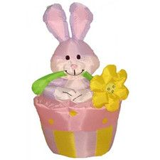 Easter Inflatable Rabbit on Flowerpot Decoration