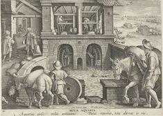 Philips Galle | Watermolen, Philips Galle, 1589 - 1593 | Koren wordt in zakken naar een watermolen gebracht en daar tot meel verwerkt. Dat meel wordt vervolgens afgemeten met een weegschaal. Op de achtergrond een rivier met verschillende watermolens. De prent heeft een Latijns onderschrift en maakt deel uit van een negentiendelige serie over nieuwe uitvindingen en ontdekkingen.
