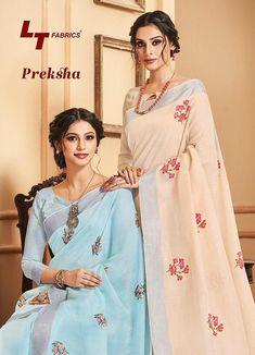 lt present preksha linen silk with resham embroidery saree wholesale - Krishna Creation
