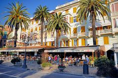 Rapallo, Italy. Beautiful outdoor dining on a picturesque avenue.