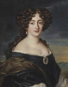 1670s - Hortensia Mancini wearing a blue dress and diamond and pearl brooch by Jacob Ferdinand Voet