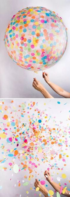 The perfect addition to your next celebration: a colorful confetti balloon if it pops they will be confetti everywhere my birthdays soon ideas for party ☀️☀️ Xx Balloon Surprise, Clear Balloons With Confetti, Festa Party, Wedding Confetti, Diy Confetti, Diy Wedding, Wedding Ideas, Wedding Exits, Wedding Send Off
