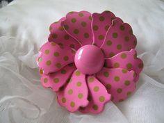 Pink Enamel Vintage Brooch by mimiyaya on Etsy, $15.00