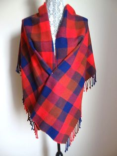 New Coach Women S Cashmere Blend Plaid Fringe Scarf Red Navy 158 O Auth