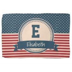 American stars stripes patriotic flag monogram towel
