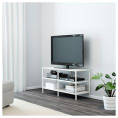 IKEA - LACK, TV bench, white, The opening at the back allows you to easily gather and organise all wires. Different wall materials require different types of fixing devices. Use fixing devices suitable for the walls in your home, sold separately. Ikea Lack Tv Bank, Ikea Tv Stand, Rack Tv, Storage Rack, Tv Bench, Tv Board, Adjustable Shelving, Sliding Doors, Home Furniture