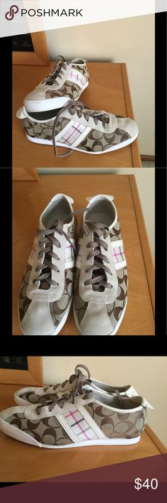 Coach tennis shoes In very good condition , no major problems , just shows regular wear , lots of life left on them . Canvas / leather . Sz 9 M ❌Price firm Coach Shoes Athletic Shoes
