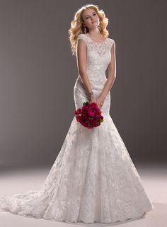 2014 Beautiful Trumpet/ Mermaid with Short Sleeves Lace Chapel Train Wedding Dress