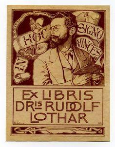 Ex Libris Dris Rudolf Lothar. Eignerporträt. Von Emil Doepler der Jüngere,1896