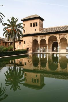 Reflection pool in Jardines de la Alhambra, Granada. España.