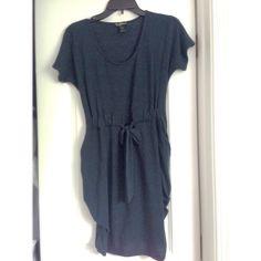 Dark blue shirt sleeve dress Dark blue shirt sleeve dress with cute mini batwing pockets on the side. Waist band tie bow. Condition: like new Dresses