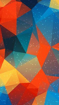 Phone Wallpaper | Orange, Blue, Triangle, Pattern, Line, Colorfulness
