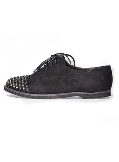 Black Punk Studded Suede Shoe at Behoneybee.com $32