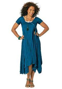 Plus Size Asymmetrical Hem Dress