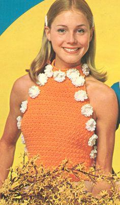 Crochet+Halter   Vintage 1970s Daisy Crochet Halter Top Pattern PDF 7205