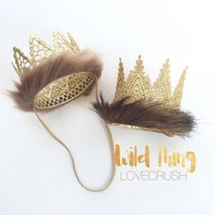 READY to SHIP || Where Wild Things Are inspired || faux fur trimmed || Harlow or Paxton || gold lace crown headband|| Original Design
