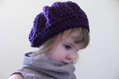 Slouchy Beret Hipster Hat in Grape Ready to Ship by piggyandbear, $20.00