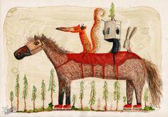 Horse, fox, robot and rabbit