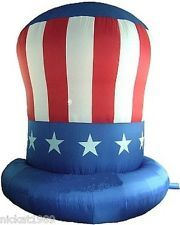 Gigantic way to celebrate the Good Ole Red, White, and Blue with this Uncle Sam Hat Patriotic Inflatable.  This very large inflatable Stands 10 feet tall!  A real winner for Independence Day, Memorial Day, Labor Day, Flag Day, and Veterans Day to Help Celebrate Freedom and Liberty. Make a statement this year at your 4th of  July party!